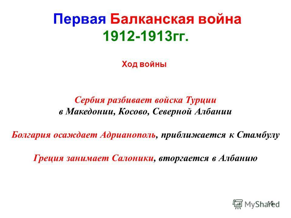 15 Первая Балканская война 1912-1913гг. Ход войны Сербия разбивает войска Турции в Македонии, Косово, Северной Албании Болгария осаждает Адрианополь, приближается к Стамбулу Греция занимает Салоники, вторгается в Албанию