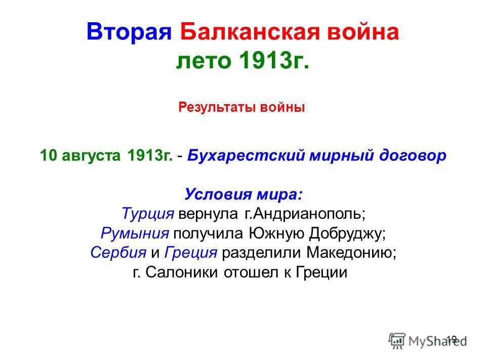 19 Вторая Балканская война лето 1913г. Результаты войны 10 августа 1913г. - Бухарестский мирный договор Условия мира: Турция вернула г.Андрианополь; Румыния получила Южную Добруджу; Сербия и Греция разделили Македонию; г. Салоники отошел к Греции