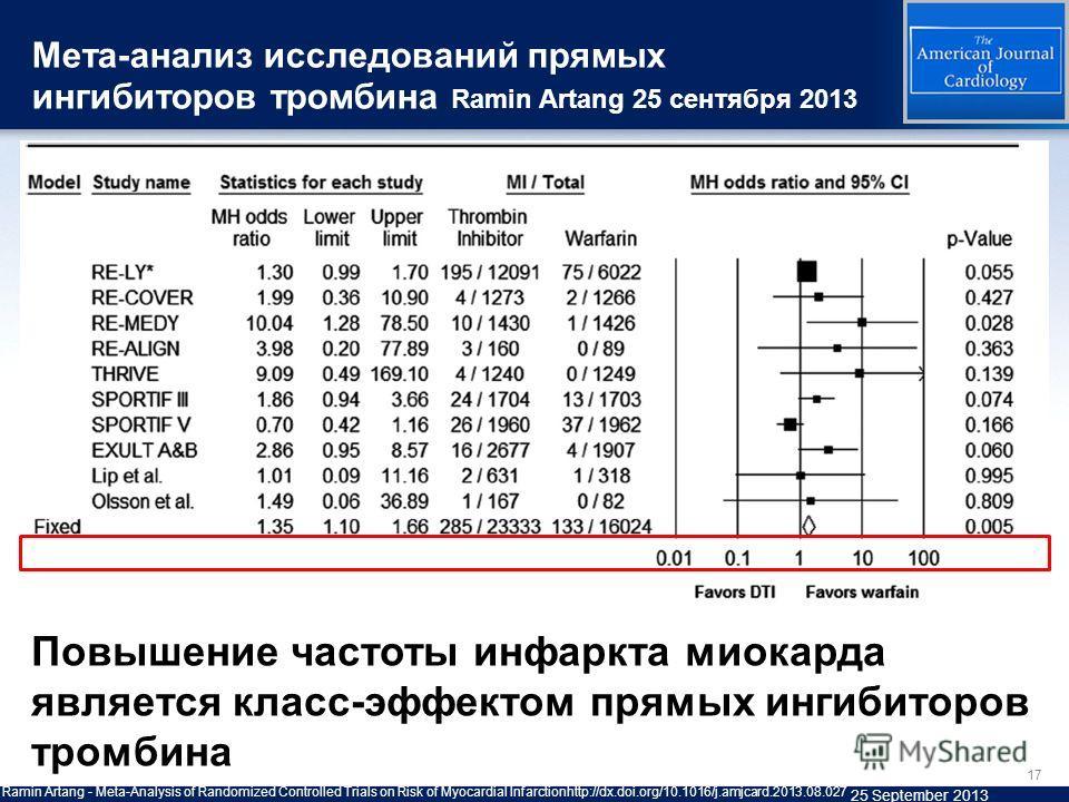 17 Ramin Artang - Meta-Analysis of Randomized Controlled Trials on Risk of Myocardial Infarctionhttp://dx.doi.org/10.1016/j.amjcard.2013.08.027 25 September 2013 Повышение частоты инфаркта миокарда является класс-эффектом прямых ингибиторов тромбина
