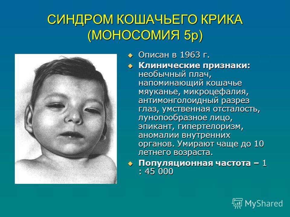СИНДРОМ КОШАЧЬЕГО КРИКА (МОНОСОМИЯ 5р) Описан в 1963 г. Описан в 1963 г. Клинические признаки: необычный плач, напоминающий кошачье мяуканье, микроцефалия, антимонголоидный разрез глаз, умственная отсталость, лунопообразное лицо, эпикант, гипертелори