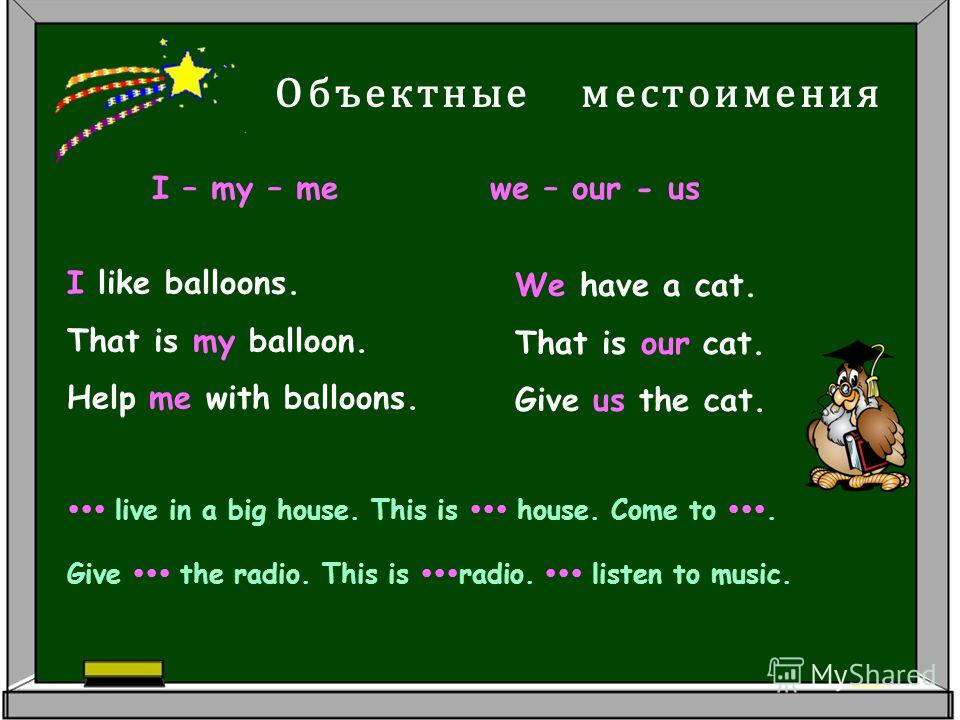 I like balloons. That is my balloon. Help me with balloons. Объектные местоимения I – my – me we – our - us We have a cat. That is our cat. Give us the cat. live in a big house. This is house. Come to. Give the radio. This is radio. listen to music.