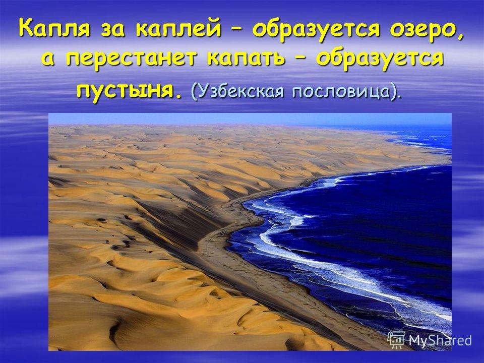 Капля за каплей – образуется озеро, а перестанет капать – образуется пустыня. (Узбекская пословица). Капля за каплей – образуется озеро, а перестанет капать – образуется пустыня. (Узбекская пословица).