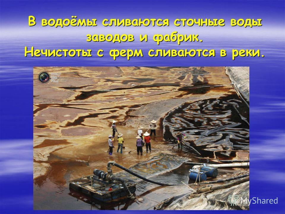 В водоёмы сливаются сточные воды заводов и фабрик. Нечистоты с ферм сливаются в реки.