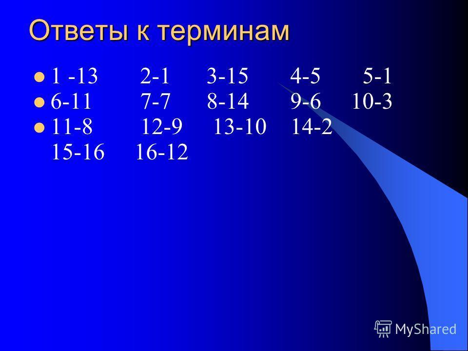 Ответы к терминам 1 -13 2-1 3-15 4-5 5-1 6-11 7-7 8-14 9-6 10-3 11-8 12-9 13-10 14-2 15-16 16-12