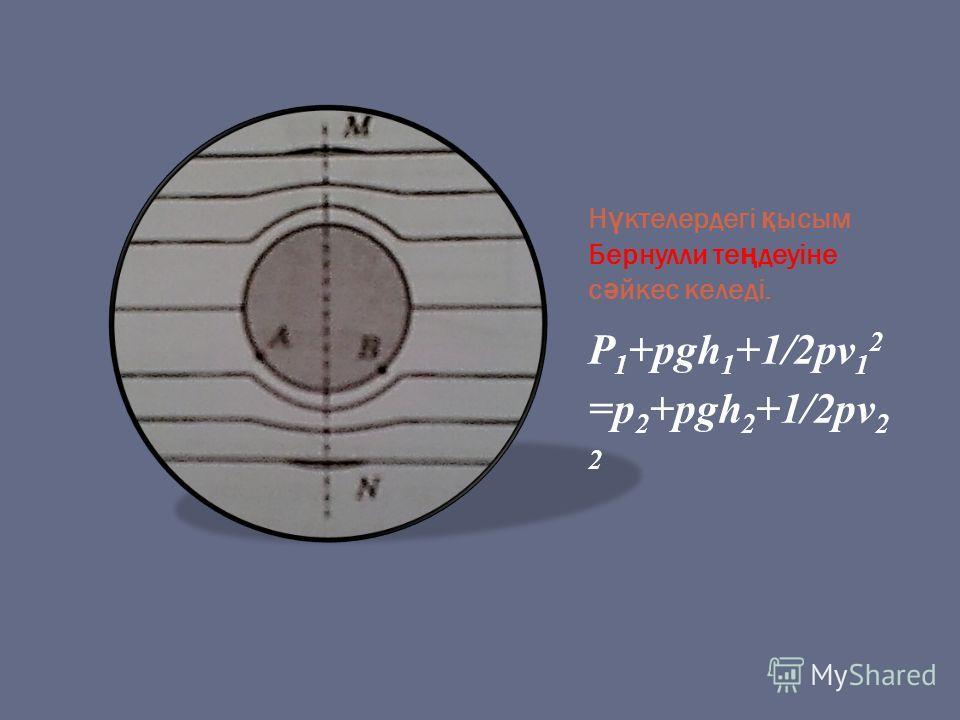 Н ү ктелердегі қ ысым Бернулли те ң деуіне с ә йкес келеді. P 1 +pgh 1 +1/2pv 1 2 =p 2 +pgh 2 +1/2pv 2 2