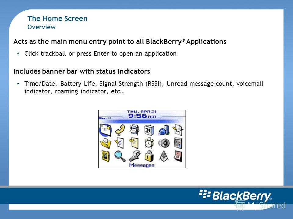 The Home Screen Overview Acts as the main menu entry point to all BlackBerry ® Applications Click trackball or press Enter to open an application Includes banner bar with status indicators Time/Date, Battery Life, Signal Strength (RSSI), Unread messa