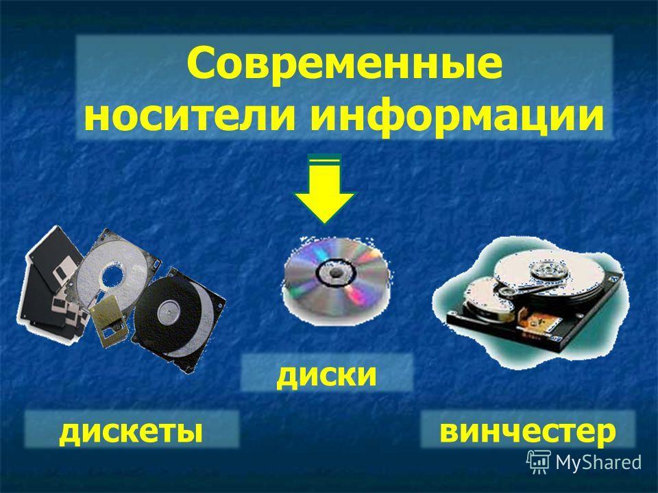 Современные носители информации дискетывинчестер диски