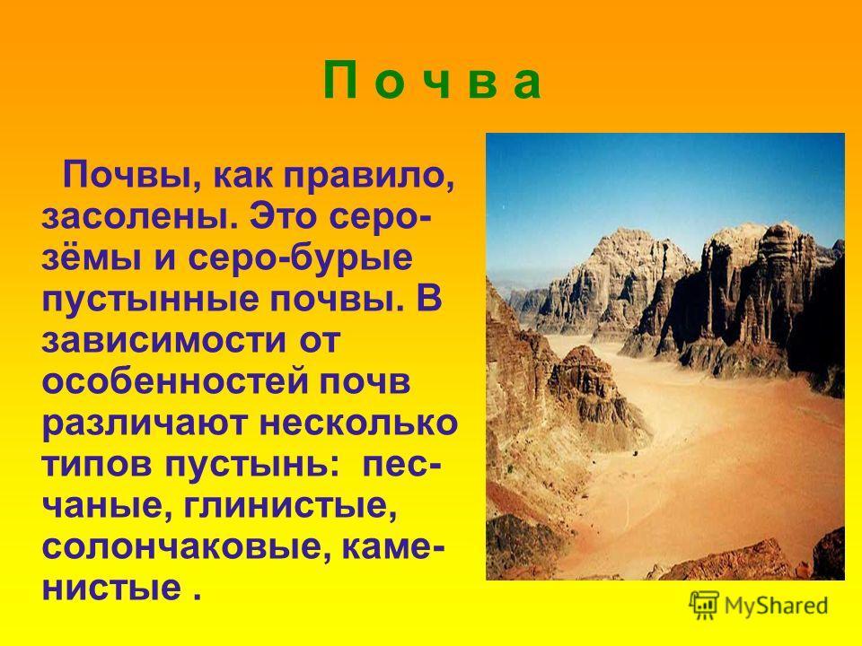 П о ч в а Почвы, как правило, засолены. Это серо- зёмы и серо-бурые пустынные почвы. В зависимости от особенностей почв различают несколько типов пустынь: пес- чаные, глинистые, солончаковые, каме- нистые.