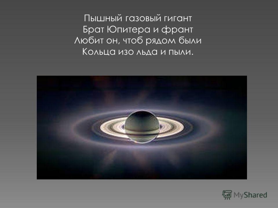 Пышный газовый гигант Брат Юпитера и франт Любит он, чтоб рядом были Кольца изо льда и пыли.