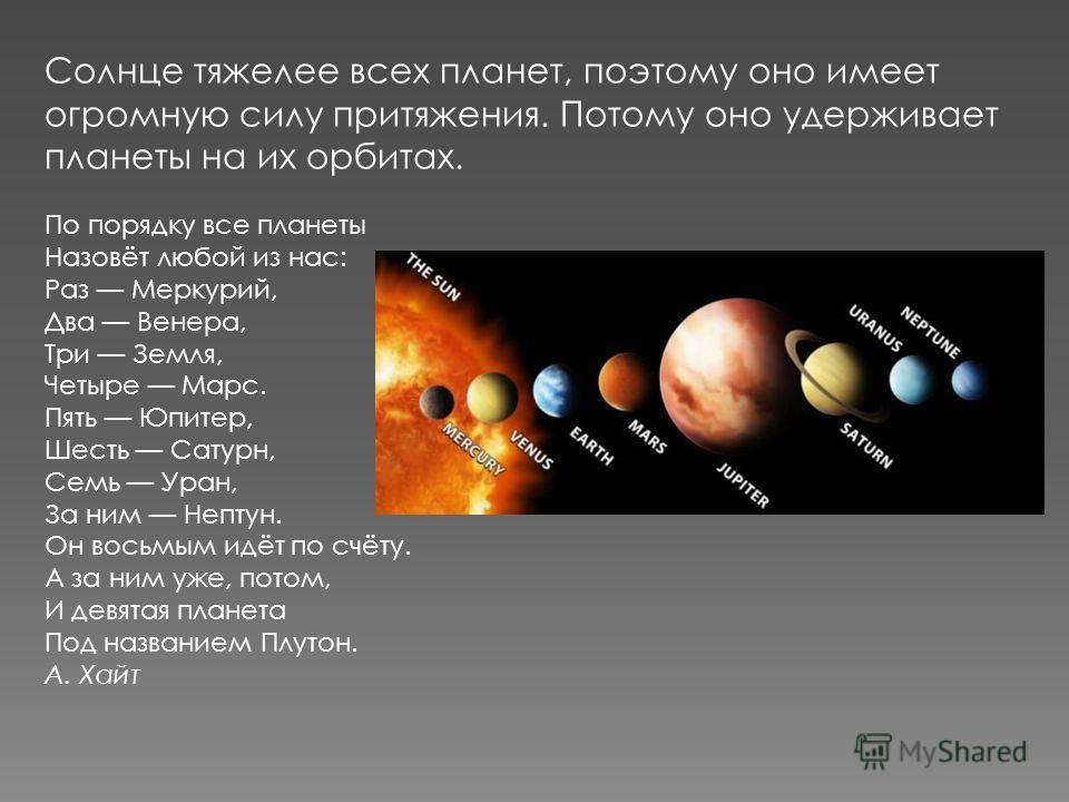 Солнце тяжелее всех планет, поэтому оно имеет огромную силу притяжения. Потому оно удерживает планеты на их орбитах. По порядку все планеты Назовёт любой из нас: Раз Меркурий, Два Венера, Три Земля, Четыре Марс. Пять Юпитер, Шесть Сатурн, Семь Уран,