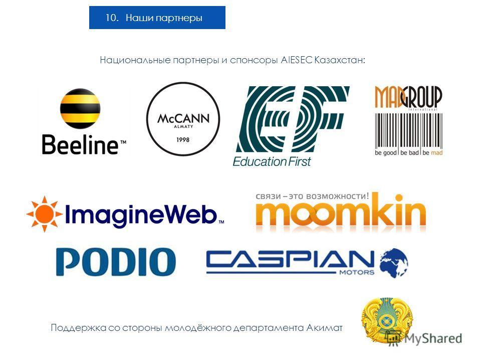 10. Наши партнеры Национальные партнеры и спонсоры AIESEC Казахстан: Поддержка со стороны молодёжного департамента Акимат