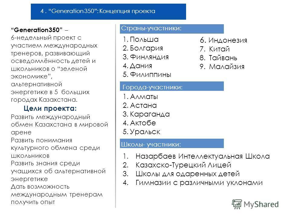 4. Generation 350: Концепция проекта Цели проекта: Развить международный обмен Казахстана в мировой арене Развить понимания культурного обмена среди школьников Развить знания среди учащихся об альтернативной энергетике Дать возможность международным