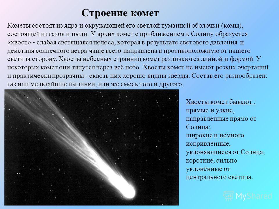 Строение комет Кометы состоят из ядра и окружающей его светлой туманной оболочки (комы), состоящей из газов и пыли. У ярких комет с приближением к Солнцу образуется «хвост» - слабая светящаяся полоса, которая в результате светового давления и действи