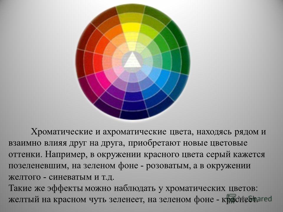 Хроматические и ахроматические цвета, находясь рядом и взаимно влияя друг на друга, приобретают новые цветовые оттенки. Например, в окружении красного цвета серый кажется позеленевшим, на зеленом фоне - розоватым, а в окружении желтого - синеватым и