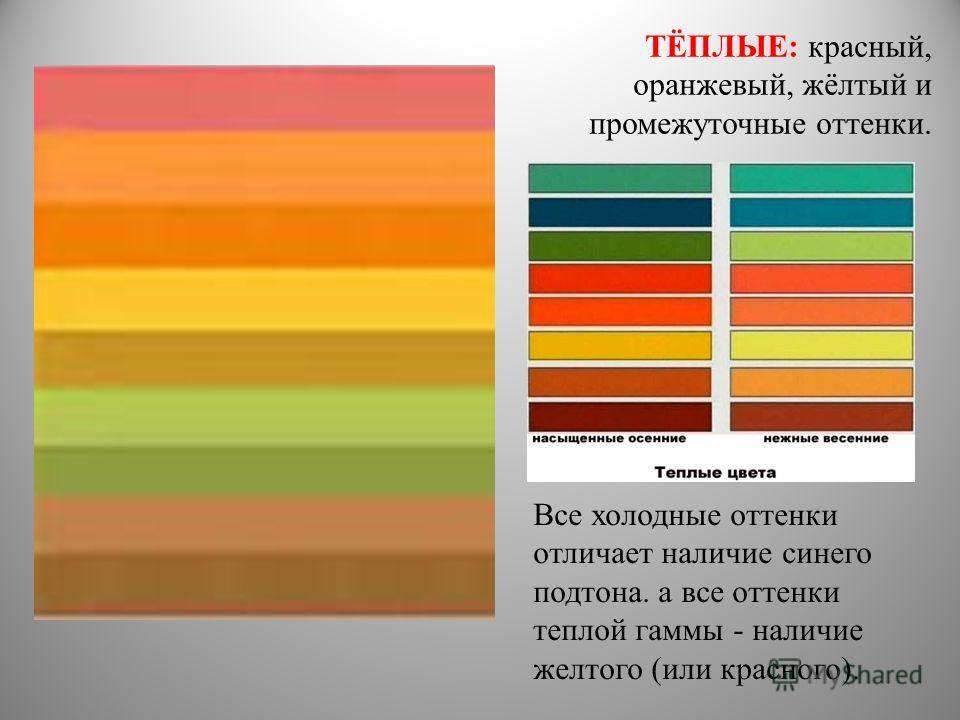 ТЁПЛЫЕ: красный, оранжевый, жёлтый и промежуточные оттенки. Все холодные оттенки отличает наличие синего подтона. а все оттенки теплой гаммы - наличие желтого (или красного).