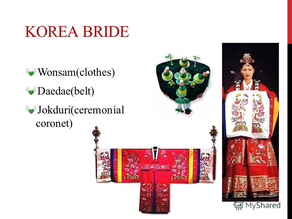 KOREA BRIDE Wonsam(clothes) Daedae(belt) Jokduri(ceremonial coronet)