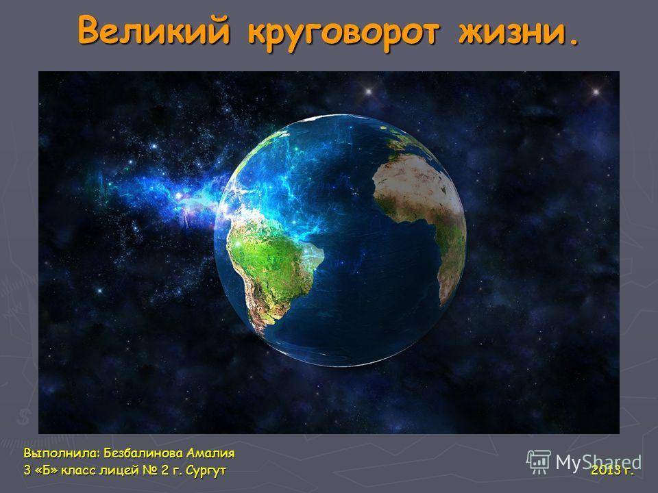 Великий круговорот жизни. Выполнила: Безбалинова Амалия 3 «Б» класс лицей 2 г. Сургут 2013 г.