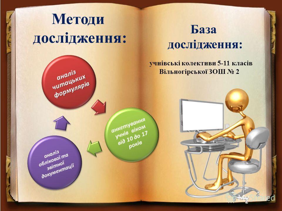 Методи дослідження: учнівські колективи 5-11 класів Вільногірської ЗОШ 2 База дослідження: