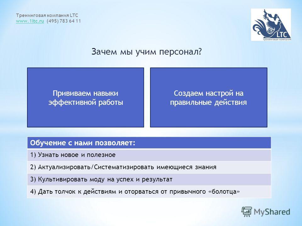 Зачем мы учим персонал? Тренинговая компания LTC www.1ltc.ruwww.1ltc.ru (495) 783 64 11 Прививаем навыки эффективной работы Создаем настрой на правильные действия Обучение с нами позволяет: 1) Узнать новое и полезное 2) Актуализировать/Систематизиров
