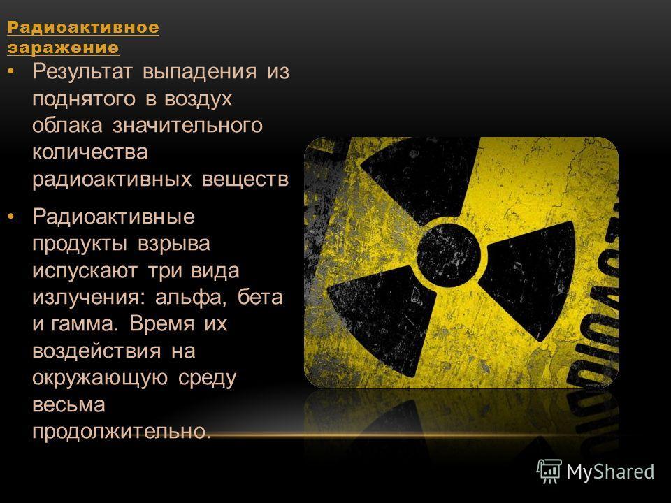 Радиоактивное заражение Результат выпадения из поднятого в воздух облака значительного количества радиоактивных веществ Радиоактивные продукты взрыва испускают три вида излучения: альфа, бета и гамма. Время их воздействия на окружающую среду весьма п