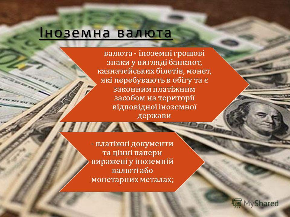 Іноземна валюта валюта - іноземні грошові знаки у вигляді банкнот, казначейських білетів, монет, які перебувають в обігу та є законним платіжним засобом на території відповідної іноземної держави - платіжні документи та цінні папери виражені у інозем