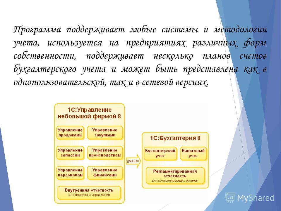 Программа поддерживает любые системы и методологии учета, используется на предприятиях различных форм собственности, поддерживает несколько планов счетов бухгалтерского учета и может быть представлена как в однопользовательской, так и в сетевой верси