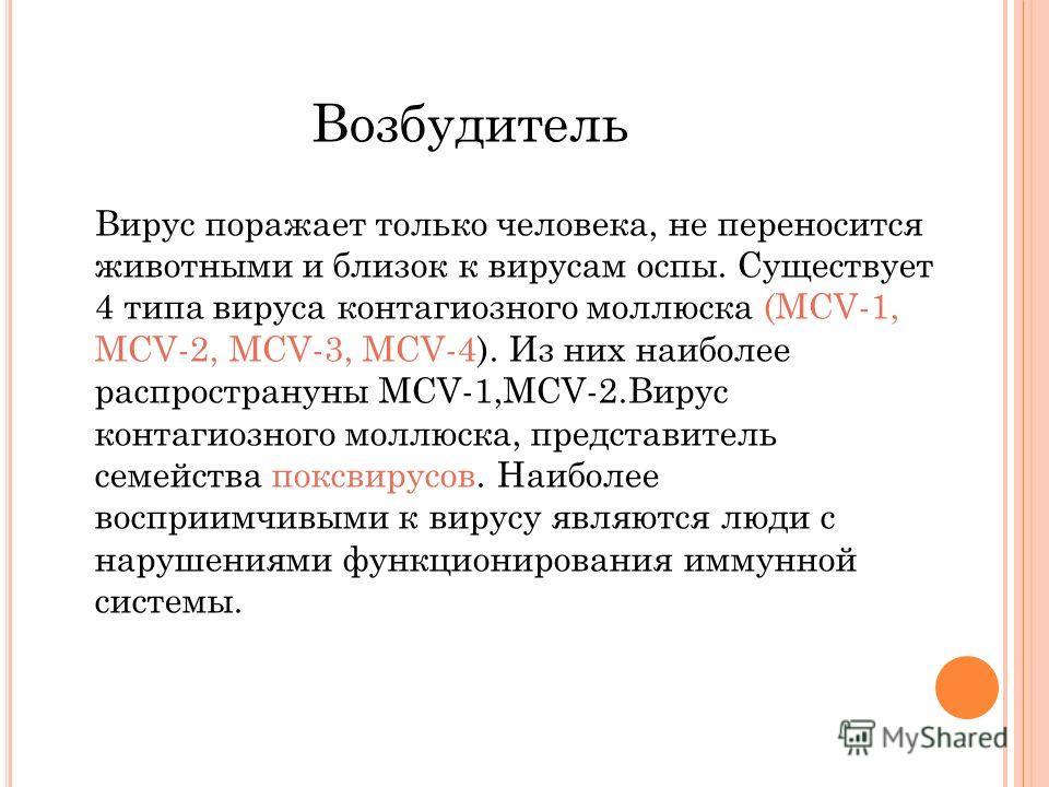 Вирус поражает только человека, не переносится животными и близок к вирусам оспы. Существует 4 типа вируса контагиозного моллюска (MCV-1, MCV-2, MCV-3, MCV-4). Из них наиболее распространуны MCV-1,MCV-2.Вирус контагиозного моллюска, представитель сем