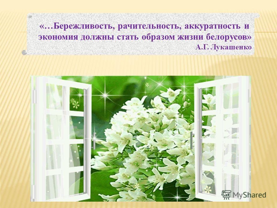 «…Бережливость, рачительность, аккуратность и экономия должны стать образом жизни белорусов» А.Г. Лукашенко