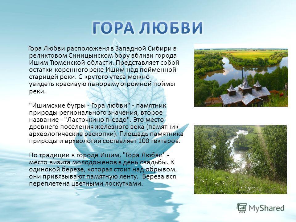 Гора Любви расположеня в Западной Сибири в реликтовом Синицынском бору вблизи города Ишим Тюменской области. Представляет собой остатки коренного реке Ишим над пойменной старицей реки. С крутого утеса можно увидеть красивую панораму огромной поймы ре
