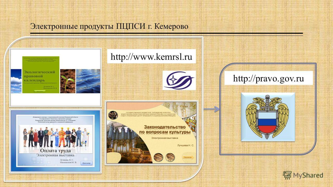 Электронные продукты ПЦПСИ г. Кемерово http://pravo.gov.ru http://www.kemrsl.ru
