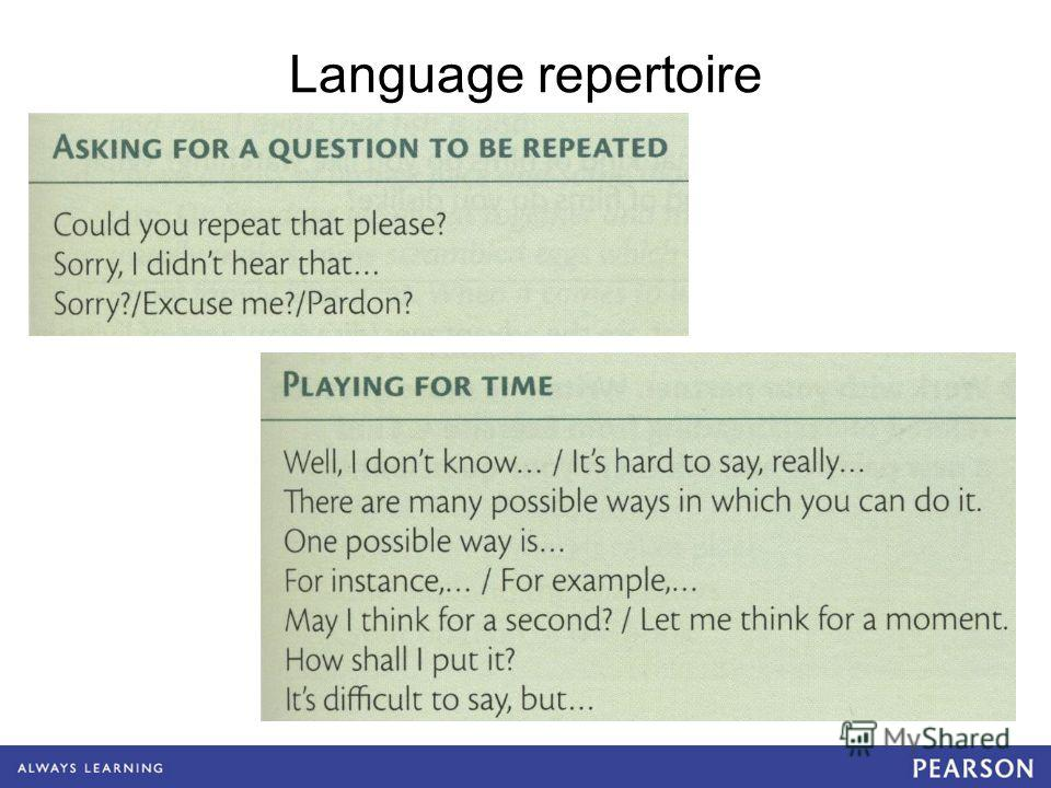 Language repertoire