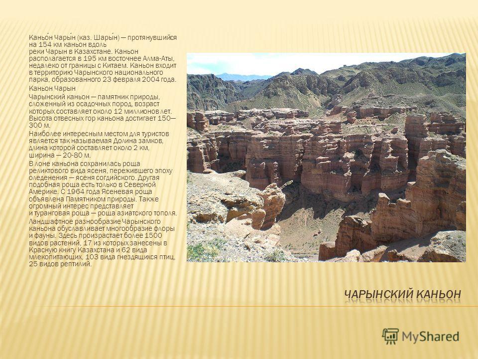 Каньон Чарын (каз. Шарын) протянувшийся на 154 км каньон вдоль реки Чарын в Казахстане. Каньон располагается в 195 км восточнее Алма-Аты, недалеко от границы с Китаем. Каньон входит в территорию Чарынского национального парка, образованного 23 феврал