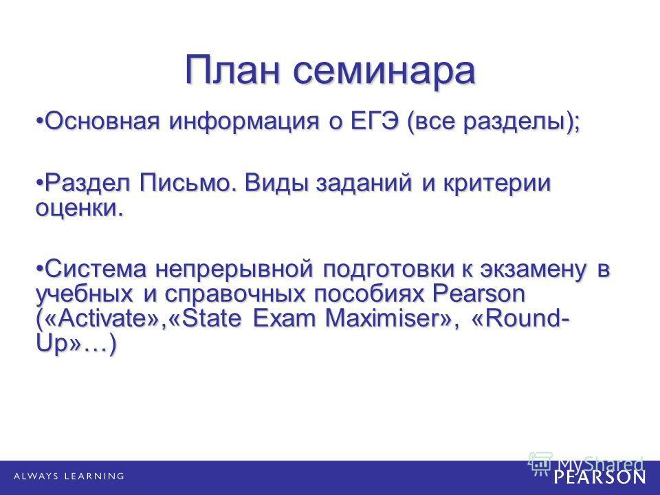 План семинара Основная