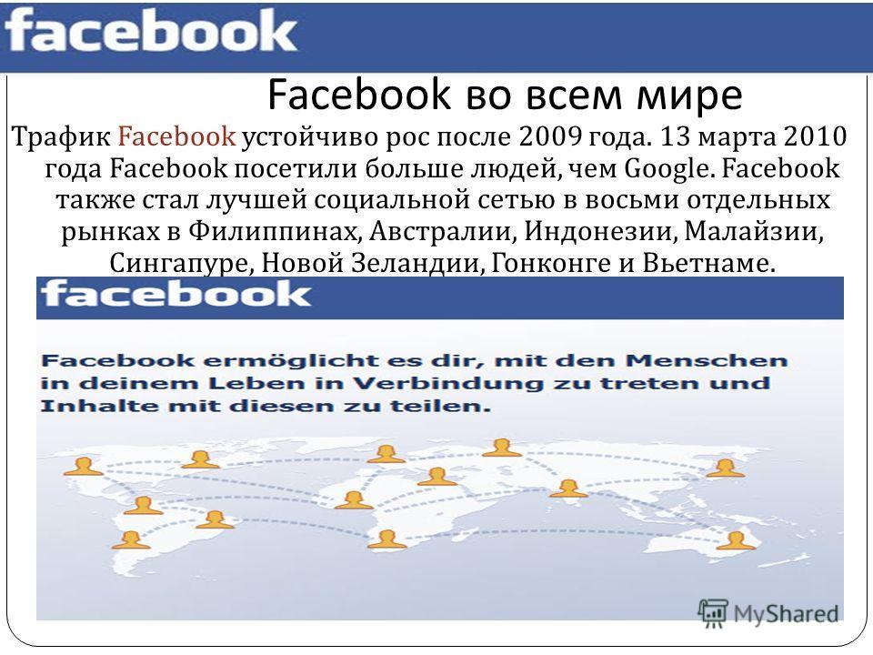 Facebook во всем мире Трафик Facebook устойчиво рос после 2009 года. 13 марта 2010 года Facebook посетили больше людей, чем Google. Facebook также стал лучшей социальной сетью в восьми отдельных рынках в Филиппинах, Австралии, Индонезии, Малайзии, Си