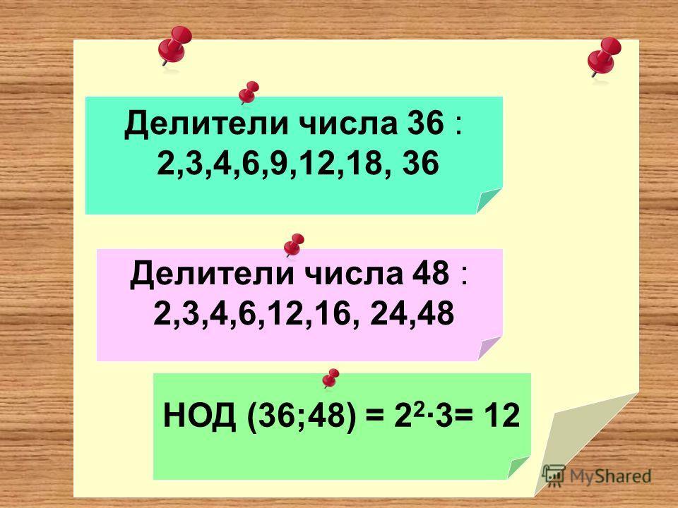 Делители числа 36 : 2,3,4,6,9,12,18, 36 Делители числа 48 : 2,3,4,6,12,16, 24,48 НОД (36;48) = 2 2 ·3= 12