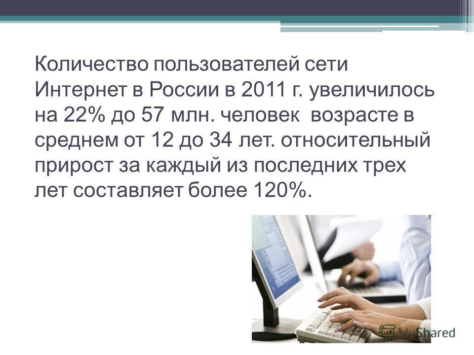 Количество пользователей сети Интернет в России в 2011 г. увеличилось на 22% до 57 млн. человек возрасте в среднем от 12 до 34 лет. относительный прирост за каждый из последних трех лет составляет более 120%.
