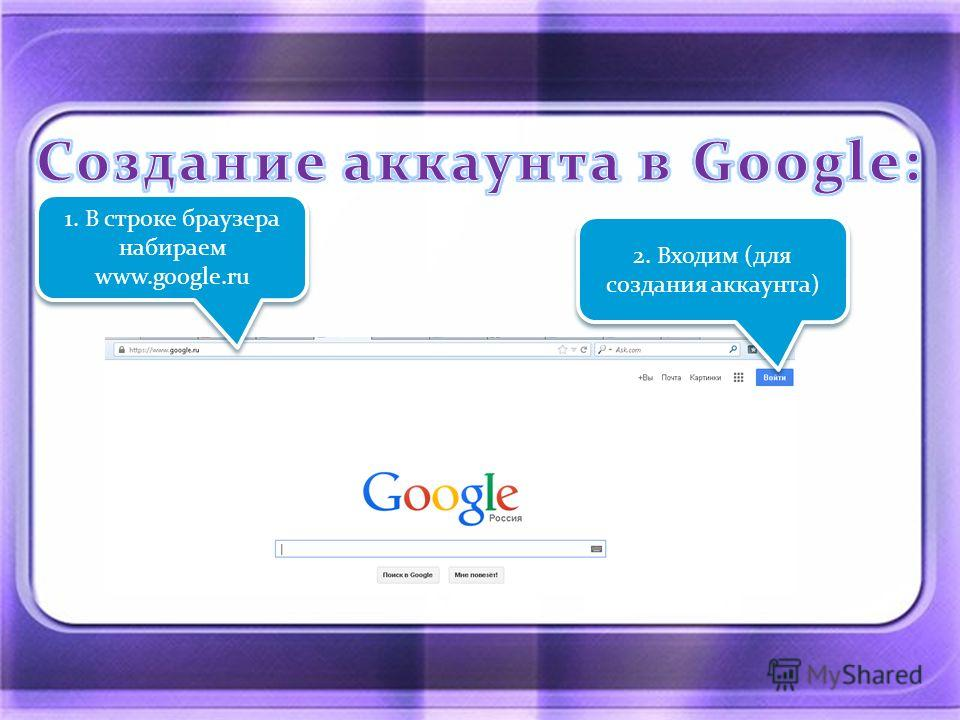 1. В строке браузера набираем www.google.ru 2. Входим (для создания аккаунта)