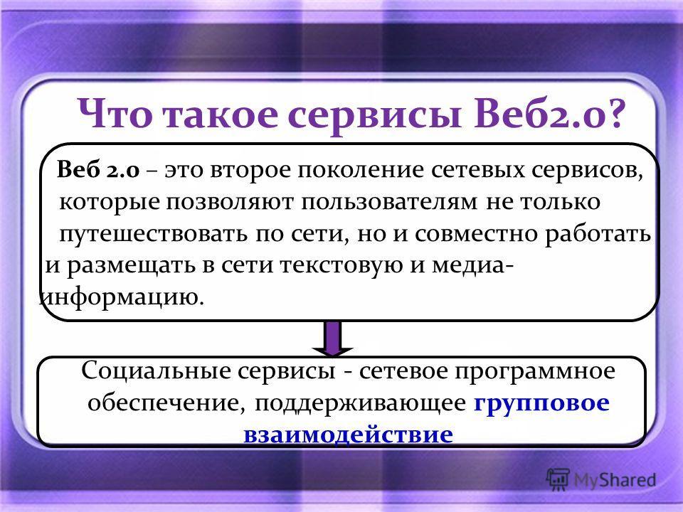 Что такое сервисы Веб2.0? Веб 2.0 – это второе поколение сетевых сервисов, которые позволяют пользователям не только путешествовать по сети, но и совместно работать и размещать в сети текстовую и медиа- информацию. Социальные сервисы - сетевое програ