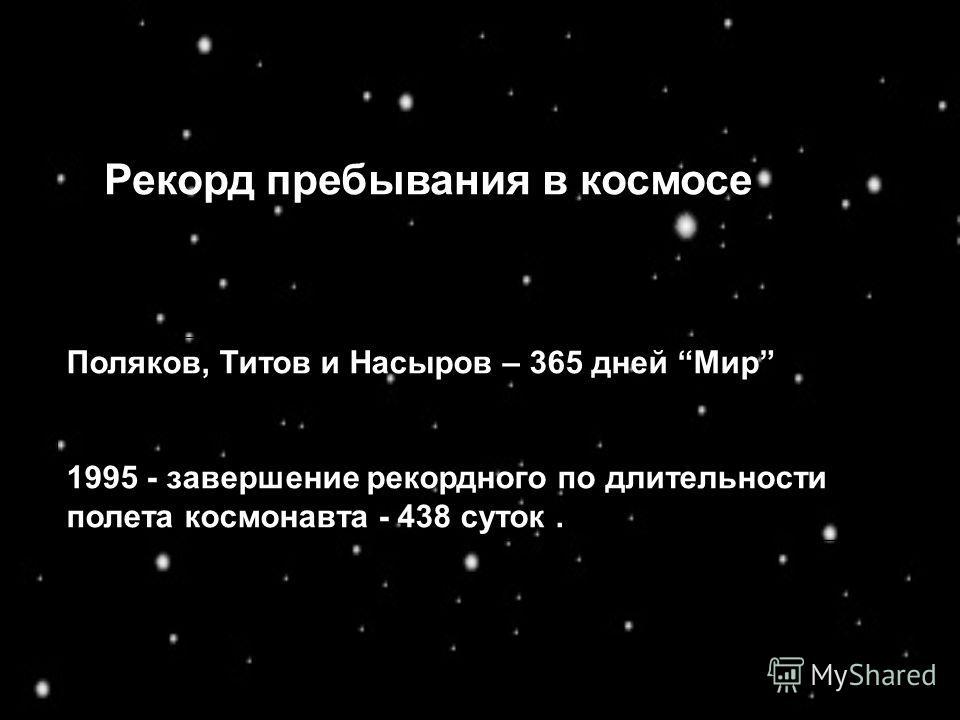 Поляков, Титов и Насыров – 365 дней Мир 1995 - завершение рекордного по длительности полета космонавта - 438 суток. Рекорд пребывания в космосе