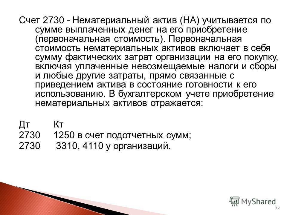 32 Счет 2730 - Нематериальный актив (НА) учитывается по сумме выплаченных денег на его приобретение (первоначальная стоимость). Первоначальная стоимость нематериальных активов включает в себя сумму фактических затрат организации на его покупку, включ