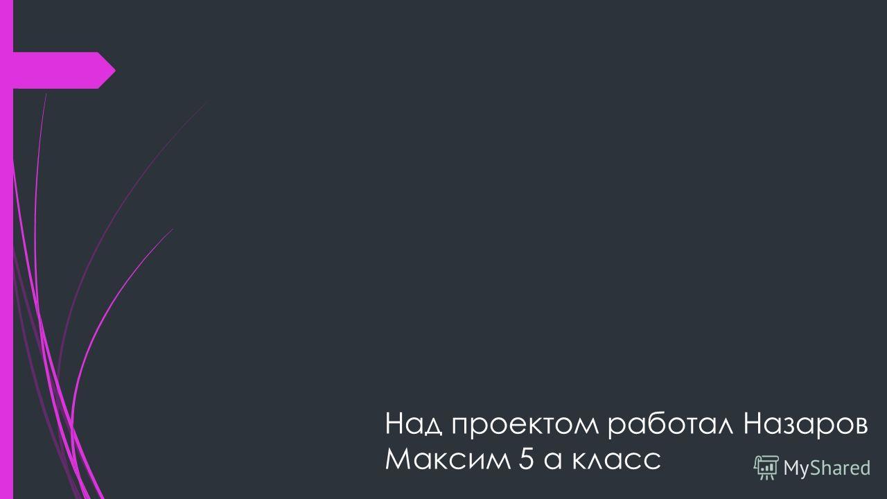Над проектом работал Назаров Максим 5 а класс