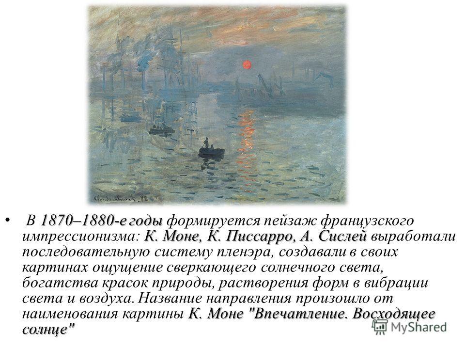 1870–1880-е годы К. Моне, К. Писсарро, А. Сислей К. Моне
