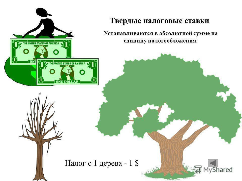 Твердые налоговые ставки Налог с 1 дерева - 1 $ Устанавливаются в абсолютной сумме на единицу налогообложения.