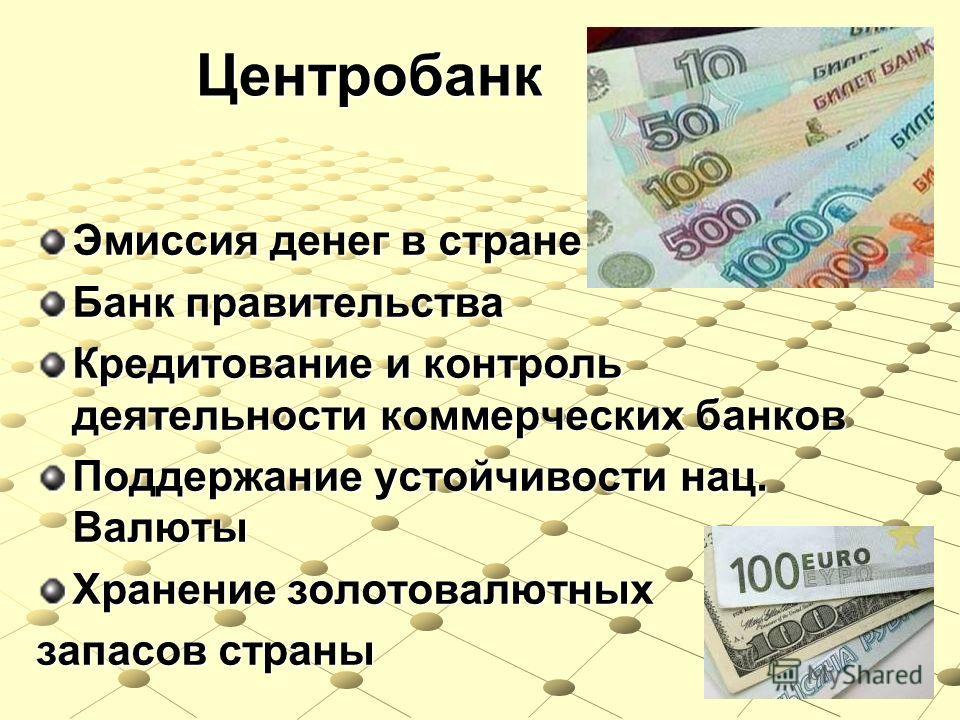 Центробанк Эмиссия денег в стране Банк правительства Кредитование и контроль деятельности коммерческих банков Поддержание устойчивости нац. Валюты Хранение золотовалютных запасов страны