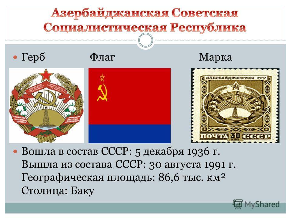 Герб Флаг Марка Вошла в состав СССР: 5 декабря 1936 г. Вышла из состава СССР: 30 августа 1991 г. Географическая площадь: 86,6 тыс. км² Столица: Баку