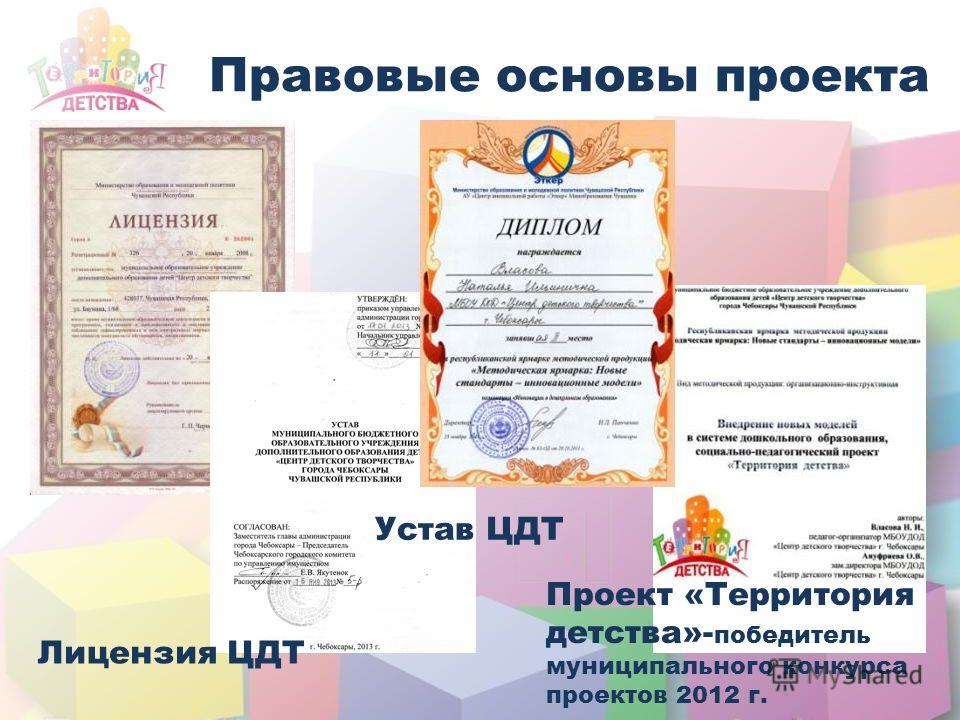 Правовые основы проекта Лицензия ЦДТ Устав ЦДТ Проект «Территория детства»- победитель муниципального конкурса проектов 2012 г.