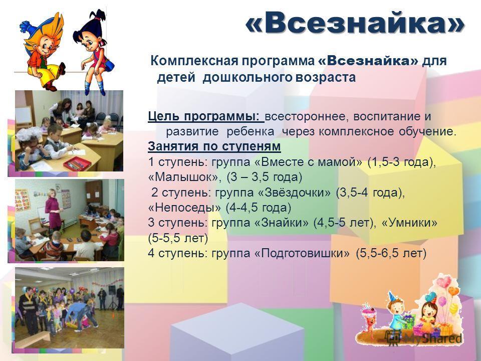 «Всезнайка» Комплексная программа «Всезнайка» для детей дошкольного возраста Цель программы: всестороннее, воспитание и развитие ребенка через комплексное обучение. Занятия по ступеням 1 ступень: группа «Вместе с мамой» (1,5-3 года), «Малышок», (3 –