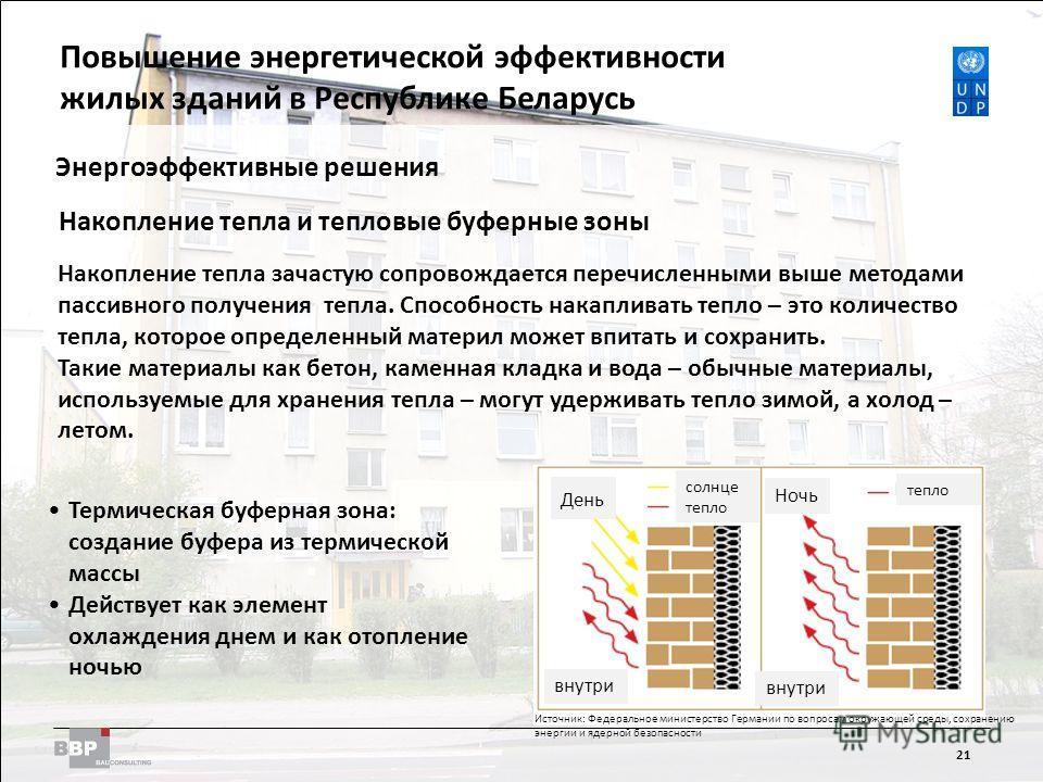 Improving Energy Efficiency in Residential Buildings in the Republic of Belarus 21 Энергоэффективные решения Накопление тепла и тепловые буферные зоны Накопление тепла зачастую сопровождается перечисленными выше методами пассивного получения тепла. С