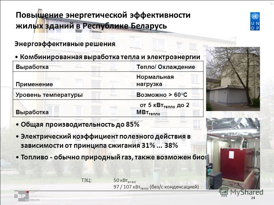 Improving Energy Efficiency in Residential Buildings in the Republic of Belarus 24 Энергоэффективные решения Комбинированная выработка тепла и электроэнергии Общая производительность до 85% Электрический коэффициент полезного действия в зависимости о