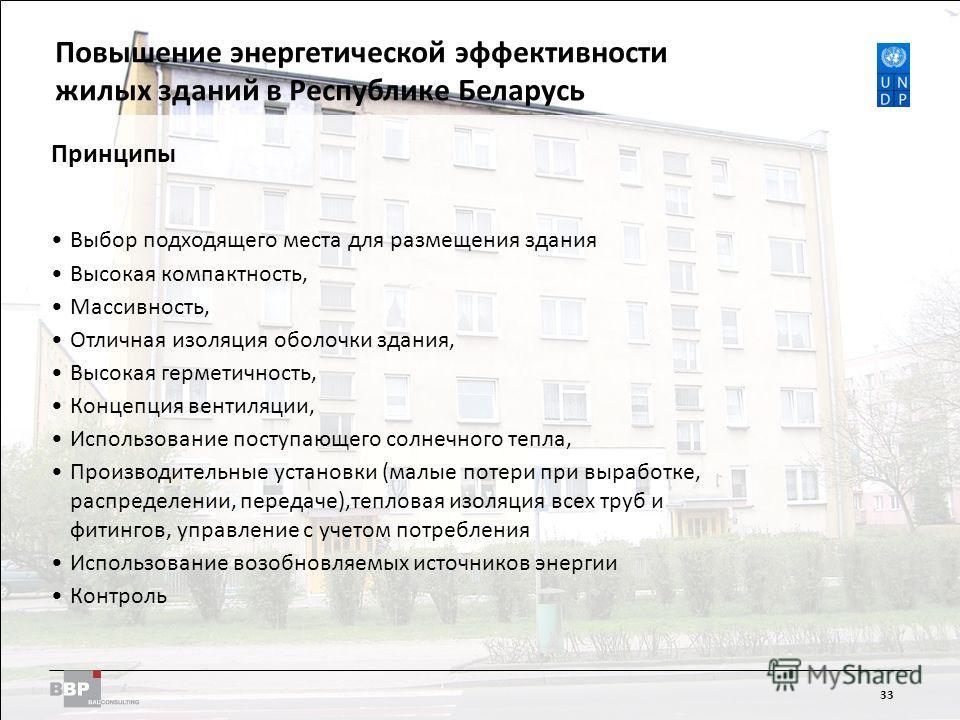 Improving Energy Efficiency in Residential Buildings in the Republic of Belarus 33 Принципы Выбор подходящего места для размещения здания Высокая компактность, Массивность, Отличная изоляция оболочки здания, Высокая герметичность, Концепция вентиляци